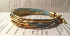 15 OFF SALE  Turquoise bracelet with leather ropes by AdrianaLV, $11.90