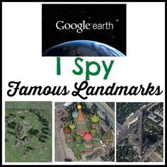 I Spy Famous Landmarks printable for searching out famous landmarks on Google Earth and noting where they are! #homeschool #Geography