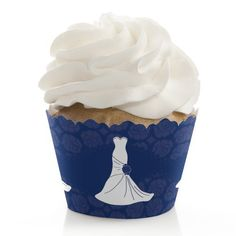 Wedding Dress Blue - Cupcake Wrappers - Set of 12 *** Unbelievable offers are coming! : Baking desserts tools