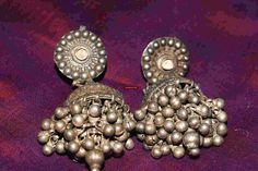 365 Antique Indian Silver Jhumki Earrings - Rajasthan MORE ON http://wovensouls.com #collectibles #artgallery #art #asianart #antiquejewelry #ethnic
