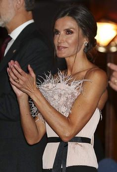 17 October 2019 - King Felipe and Queen Letizia attend the Princess of Asturias Awards concert in Oviedo - top and trousers by The Skin Co Princess Letizia, Queen Letizia, Hollywood Fashion, Royal Fashion, Princess Of Spain, Spanish Royalty, Fashion Idol, Women's Fashion, Estilo Real