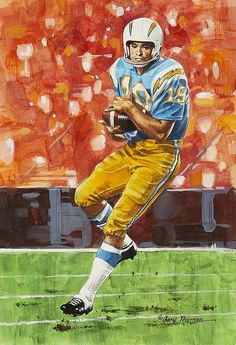 San Diego Chargers Lance Alworth by Gary Thomas Couldthis guy run perfect routes or what and Oh what hands he had. Nfl Football Players, Football Art, Vintage Football, Football Helmets, Football Photos, American Football League, National Football League, Chargers Nfl, Sports
