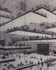 Architectural Drawing Design Conrad Roland, Drawing of an exhibition hall with floating. Theater Architecture, Architecture Graphics, Organic Architecture, Architecture Drawings, Interior Architecture, Auditorium Architecture, Floating Architecture, Fondation Cartier, Casa Patio