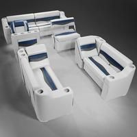 Pontoon Boat Seats - Gray, Blue & Charcoal Pontoon Boat Furniture (Seats In Stock) Pontoon Boat Parts, Pontoon Seats, Boat Seats, Pontoon Boating, Make A Boat, Build Your Own Boat, Pontoon Boat Furniture, Plywood Boat, Boat Building Plans
