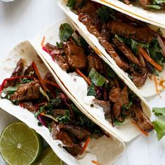 ✨BUGLOGI BBQ BEEF TACOS✨ Recipe by: @cafedelites INGREDIENTS Tacos: 1 cup low-sodium soy sauce ½ cup mirin ½ cup brown sugar 2 tablespoons sesame oil 4 cloves garlic, crushed 1 teaspoons peeled fresh ginger, grated or minced 1 tablespoon fresh coriander, finely chopped 1kg   2lbs flank steak (or eye fillet/scotch fillet) 12-14 mini flour tortillas, warmed Kale Slaw: 2 tablespoons soy sauce Juice of 1 lime 1 tablespoon Mirin 2 teaspoons sesame oil[ 1 cup Kale, shredded 1 cup red or green…