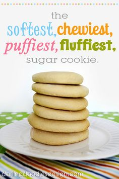 Sugar Cookies Recipe ~ They are easily the softest, chewiest, puffiest, fluffiest, sugar cookies!