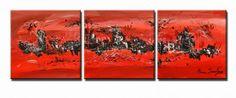 une peinture abstraite contemporaine façon triptyque rouge noir et blanc, une réalisation de peinture abstraite sur mesure est aussi envisageable