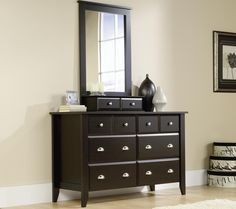 Shoal Creek Six Drawer Dresser with Mirror Jamocha Wood Finish Six Drawer Dresser, Wood Dresser, Dresser With Mirror, Mirror Set, Changing Dresser, Tall Narrow Dresser, Thing 1, Bedroom Dressers, Diy Dressers