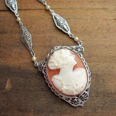 VINTAGE Art Deco Shell Cameo Lavalier Pendant / by arreign on Etsy, $225.00