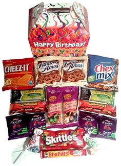 Snack Gifts Happy Birthday Care Package Features Fun Candles Graphic Gift Box Stuffed With Savory Snacks And Sweet Candy Treats The Perfect