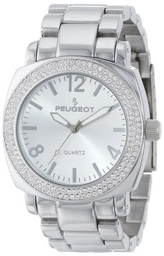 Peugeot Women's 7075RG Boyfriend Oversized Watch with Swarovski Crystal Bezel Metal Link Rose Gold Watch Bracelet *** Wow! I love this. Check it out now!