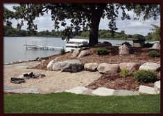 Modern landscaping Ideas for small yards Lakeside Beach, Lakeside Living, Lake Beach, Lake Dock, Beach Landscape, House Landscape, Landscape Design, Flower Landscape, Small Yard Landscaping
