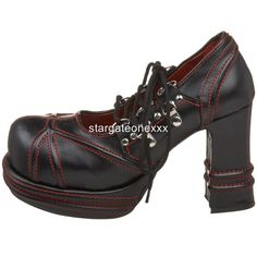 "VAMPIRE 03 4"" Heel Demonia Goth Punk Black Red Retro Witch Shoes Size UK 3 - 9 