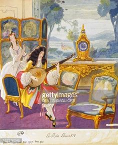 Scene in style of Louis XIV, theatrical setting, watercolor, 1922 by Umberto Brunelleschi (1879-1949)