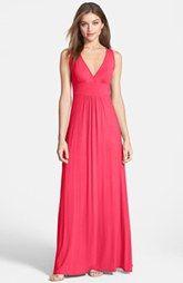 Loveappella V-Neck Stretch Knit Maxi Dress (Regular & Petite)