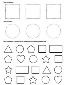 Trace the squares and circles. Color the shapes using the right colors. Preschool Activity Sheets, Preschool Number Worksheets, Flashcards For Kids, Preschool Writing, Numbers Preschool, Free Preschool, Preschool Learning, Kindergarten Worksheets, Preschool Activities