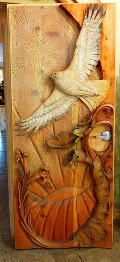 Carved Winery Door