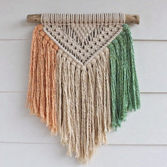 tricolor macrame wall hanging