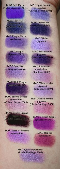 Massive amounts of MAC e/s swatches from a fantastic blog called Specktra