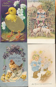 Lot of 4 Vintage  Easter Postcards Rabbits Duck Lambs-hhh-899