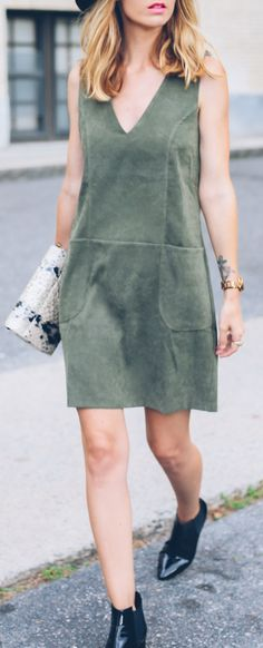 Fall style in a suede dress, ankle boots and the Brahmin Carina Shoulder Bag Spring Fashion, Autumn Fashion, Dress Skirt, Dress Up, Boohoo Dresses, Green Suede, Little Dresses, Black Booties, Spring Outfits