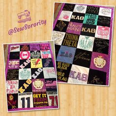 This double-sided t-shirt quilt can display up to 48 shirts! Order your custom quilt by emailing us at SewSorority@gmail.com #theta #thinktheta #sorority