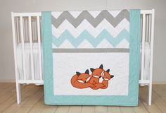 Fox Blanket Chevron Sleeping Foxy Patchwork Quilt, Crib Bedding, Gray Teal Turquoise and White, Custom Made Quilt Baby, Fox Quilt, Cross Quilt, Quilt Bedding, Quilting Projects, Sewing Projects, Elephant Bedding, Woodland Crib Bedding, Fox Nursery