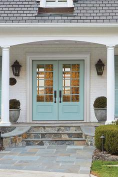Smooth-Pro Fiberglass 3/4 Lite with Clear Glass Simulated Divided Lite 1 Panel Exterior Door in Serenity Garage Doors, Windows, Outdoor Decor, Home Decor, Decoration Home, Room Decor, Home Interior Design, Carriage Doors, Ramen