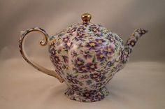 Vintage Arthur Wood Violet Purple Flowers Teapot Floral England Collectible