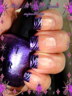 Purple french tip with zebra stuff i like acrylic nail tips, gel nails и . Purple Nail Designs, French Nail Designs, Gel Nail Designs, Cute Nail Designs, Silver Nails, Purple Nails, Purple Zebra, French Tip Nails, Purple French Manicure