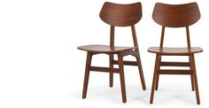 2 x Jacob Dining Chairs Natural Walnut