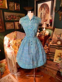 Vintage 50's 60's Print Dress w Nipped Waist Full Skirt Cute Mad Men M | eBay