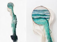 Check out these embroidered landscapes by Ana Teresa Barboza. Mimicking the flow of the waves or sea grass, her compositions can not be contained.