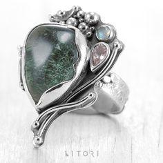 LEŚNE SKARBY ZIELENI - Srebrny pierścionek / Litori / Biżuteria / Pierścionki