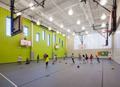 Carrie Busey Elementary School - Cannon Design, Gymnasium, Acoustical CMU, Kalwall, Acoustical Metal Deck, Green paint