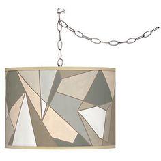 Swag Style Modern Mosaic I Giclee Shade Plug-In Chandelier