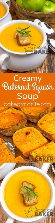 """Creamy Butternut Squash Soup ~ nothing says """"fall"""" better than roasted squash made into a creamy soup!"""