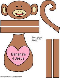 """Banana's 4 Jesus"" Valentine Monkey Template Pattern Cutout FREE! #valentines #crafts #kids #heart #monkey"