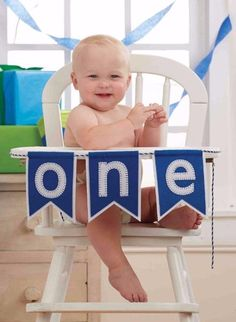 "Amazon.com : Mud Pie ""ONE"" Pennant Happy Birthday Boy High Chair Banner Garland Sign Felt : Baby"