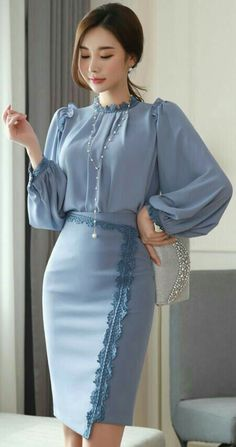 Lace Trim Asymmetrical Hem Pencil Skirt StyleOnme_Lace Trim Asymmetrischer Saum Bleistiftrock Mode This image has. K Fashion, Modest Fashion, Hijab Fashion, African Fashion, Korean Fashion, Fashion Dresses, Womens Fashion, Fashion Trends, Feminine Fashion
