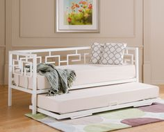 Greek Key Day Bed w/ Trundle put slip around bottom to hid trundle when not in use