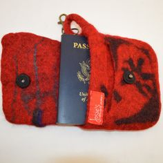 Felted wool, passport case, business card file, key ring, one-of-a-kind, red heather wool textured surface, snap closure, for him, for her by JosiesColourfulArt on Etsy