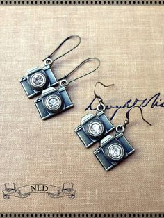 Camera Earrings, Antique Brass Earrings, Photography Jewelry on Etsy, $8.00