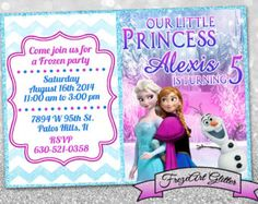 Disney Frozen birthday invitation Glitter Elsa invitation Digital printable invitation on Printable sheet Free Online Birthday Invitations, Frozen Birthday Invitations, Disney Frozen Birthday, Frozen Party, Printable Invitations, Sofia Party, Little Princess, Elsa, Glitter