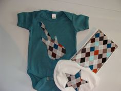 Baby Boys Clothing // Argyle Guitar Rockstar Gift Set // Burp Cloth, Bib and Onesie // Baby Boy Clothes // Baby Boy Gift