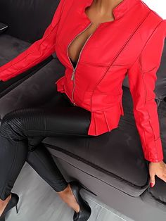 NEU 2017 LEDER OPTIK ROT LEATHER LOOK Damen Jacke Z47 Blazer Coat OVERSIZE 3XL