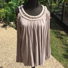 Tan long sleeve embellish top Boston Proper No signs of wear, this decorative top is ready to wear. No embellishments missing. The collar is heavy and the body of the top is light and flows. Elastic on sleeves. Open shoulder look!! Boston Proper Tops