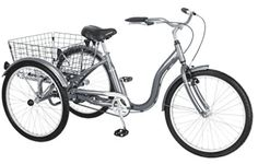 Schwinn Meridian Single Speed Bike This adult trike allows great stability and cargo carrying capacity. The Schwinn Meridian is built in cruiser styling with swept back handlebars making it not only comfortable, but a stylish way to ride. Tricycle Bike, Adult Tricycle, Trike Bicycle, Cruiser Bicycle, Bmx Bikes, Schwinn Bikes, Cargo Bike, Cycling Bikes, Motorcycles