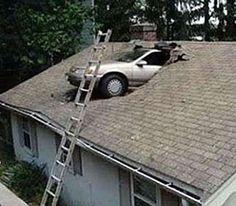 Skylight Installation Step #1:  Drive car through roof.