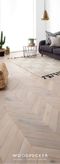 Take a closer look and discover your dream floor with free flooring samples. Order from our website and we'll pop them in the post. Style At Home, Wooden Flooring, Parquet Flooring, Natural Wood Flooring, Living Room Designs, Living Room Decor, Wood Floor Design, Chevron Floor, Floor Colors